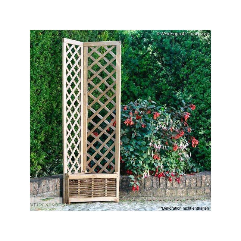 pflanzkasten pflanzk bel blumentopf aus weide und kieferrahmen dreieckig mit rankgitter. Black Bedroom Furniture Sets. Home Design Ideas