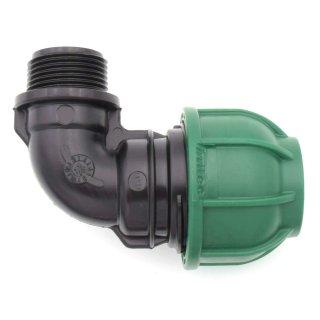 """PE Winkel 90° mit Außengewinde - Brauchwasser 25 mm / 1"""" AG"""