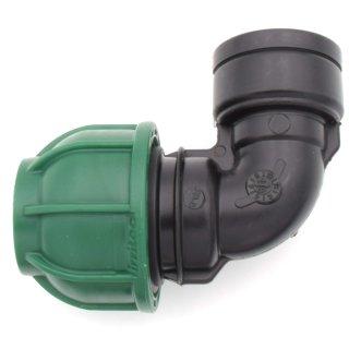 """PE Winkel 90° mit Innengewinde - Brauchwasser 32 mm 3/4"""" IG"""