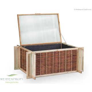 Deckel für Hochbeet aus Weide und Holz 120 x 80 cm